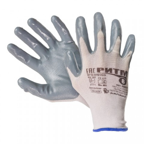 Нейлоновые перчатки с нитриловым обливом Ампаро Ритм