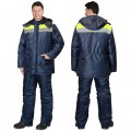 Куртка Бригадир зимняя удлиненная, цвет синий с лимонным