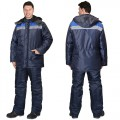Куртка Бригадир зимняя удлиненная, цвет синий с васильковым
