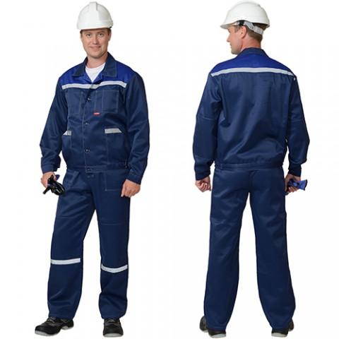 Костюм Легионер темно-синий с васильковым, куртка, полукомбинезон