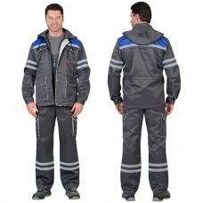 Костюм Лидер серый с синим, куртка, полукомбинезон