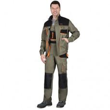 Костюм Манхеттен оливковый, укороченная куртка, полукомбинезон МВО
