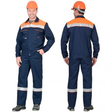 Костюм Мастер синий с оранжевым, куртка, полукомбинезон