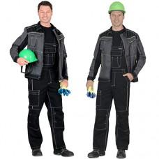 Костюм Престиж, серая с зеленой отделкой куртка, черный полукомбинезон