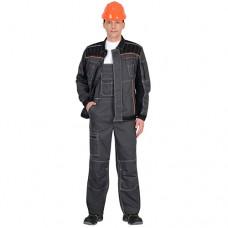 Костюм Престиж серый с оранжевой отделкой, куртка, полукомбинезон