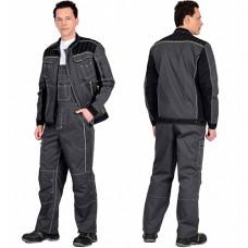 Костюм Престиж серый с зеленой отделкой, куртка, полукомбинезон