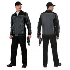 Костюм Престиж серый с черным, куртка, полукомбинезон