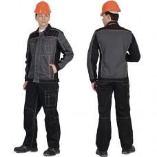 Костюм Престиж серый с черным, куртка, брюки