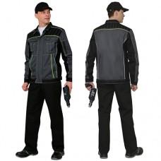 Костюм Престиж серый с черным, зеленая отделка, куртка, брюки