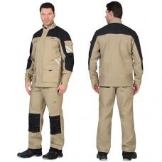 Костюм Вест-Ворк песочный с черным, куртка, полукомбинезон