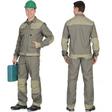 Костюм Вест-Ворк оливковый, брюки, куртка укороченная