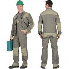 Костюм Вест-Ворк оливковый, куртка укороченная, полукомбинезон