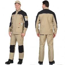 Костюм Вест-Ворк песочный с черным, куртка удлиненная, брюки