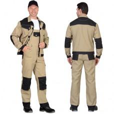 Костюм Вест-Ворк песочный с черным, куртка укороченная, полукомбинезон